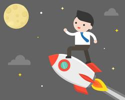 Homem negócio, montando, foguete, voando lua, missão, para, a, lua, conceito
