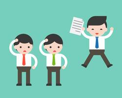 Homem de negócios feliz segurando o contato e empresário duvidoso vetor
