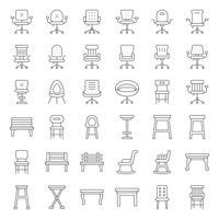 Fezes, cadeira, sofá e banco, conjunto de ícones de contorno vetor