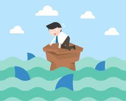 Homem negócios, cercado, tubarão, crise, conceito