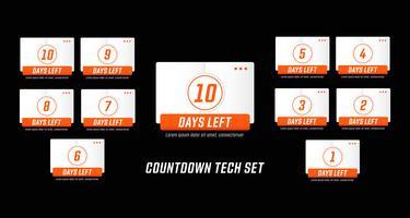 Tecnologia moderna mecha design estilo número dias à esquerda conjunto de contagem regressiva vetor
