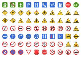Conjunto de ícones de sinal de trânsito vetor