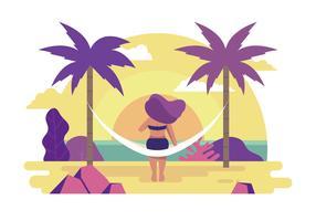 Pessoa, desfrutando, verão, ilustração vetor