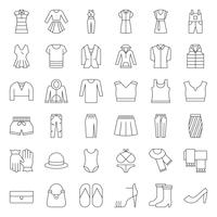 Roupa feminina, bolsa, sapatos e acessórios ícone de contorno fino conjunto 2 vetor