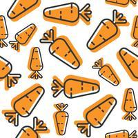 Padrão sem emenda de cenoura, papel de parede vegetal de contorno vetor