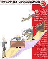 Estudante da escola, professor, silhueta, personagens de desenhos animados, menino, menina, macho, fêmea, professor, material escolar, papelaria - eps, vector