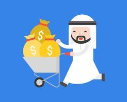 Homem de negócios árabe bonito feliz empurrar carrinho que completo com saco de dinheiro vetor