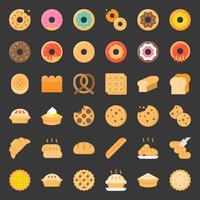 Pão, donut, torta, produto de padaria, conjunto de ícones plana vetor