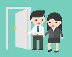 Porta aberta de empresário para mulher de negócios, conceito de homem gentil vetor