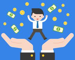 Mão de giro negócios pulando na mão de apoio com notas de dólar e moedas de ouro vetor