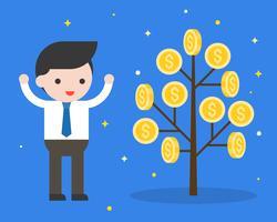 Homem negócios, com, moeda dinheiro, árvore, investimento, crescendo, conceito vetor
