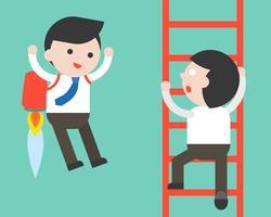 Empresário subir uma escada e empresário voando com jet pack