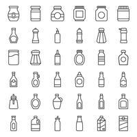 Conjunto de ícones de contêiner de comida e bebida, estilo de estrutura de tópicos vetor