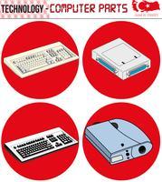 computador retrô, peças de computador, tecnologia, vetor, Made in Turkey