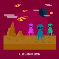 projeto de ilustração conceitual de invasão alienígena vetor