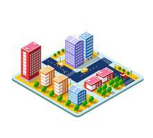 Cidade 3D isométrica colorida vetor