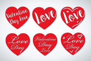 Conjunto de corações de dia dos namorados