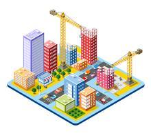 Cidade isométrica do módulo das casas vetor