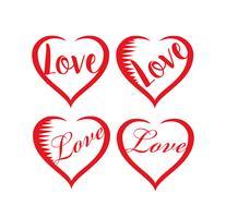 Conjunto de corações de dia dos namorados vetor