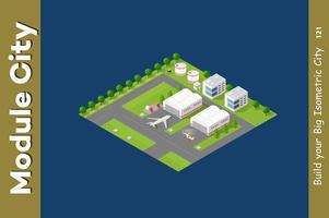 Aeroporto 3D da cidade isométrica vetor