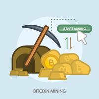 Ilustração conceptual da mineração de Bitcoin vetor