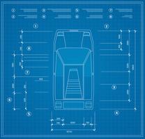 Vista superior de um conjunto de carros urbanos blueprint