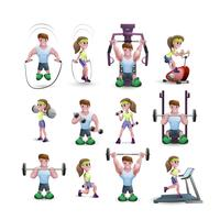 Conjunto de ícones de personagens de fitness