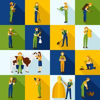 Ícones de cor de agricultores e jardineiros de trabalho