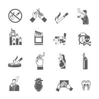 Conjunto de ícones de fumar vetor