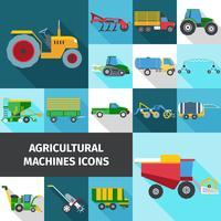 Conjunto de ícones de indústria agrícola vetor