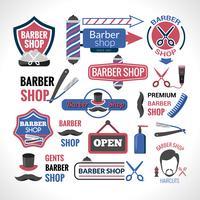 Símbolos de loja de barbeiro assina coleção de rótulos vetor