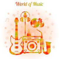 Mundo da música cor conceito vetor
