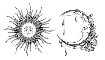 Sol Decorativo E Lua vetor