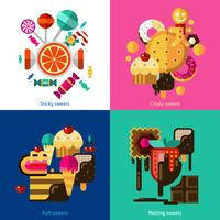 Conjunto de ícones de doces e doces vetor