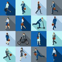 Ir, trabalhando, pessoas, ícones, jogo vetor