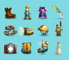 Conjunto de ícones 3d de espeleologia vetor