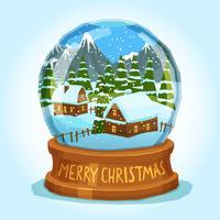 Cartão do Feliz Natal do globo da neve vetor
