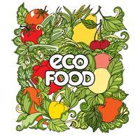 Doodle conjunto com legumes coloridos e frutas vetor