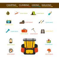 Camping e Caminhadas Icons Set vetor