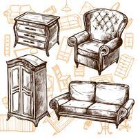 Conceito sem emenda do esboço da mobília vetor