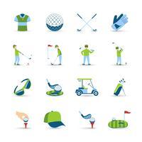 Conjunto de ícones de golfe vetor