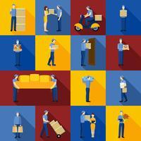 Conjunto de ícones de homem de entrega