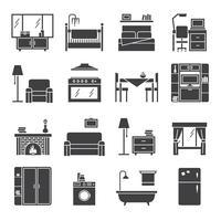Conjunto de ícones de interiores e móveis vetor