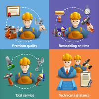 Remodelação de serviço 4 ícones lisos quadrados