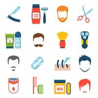 Conjunto de ícones de barbear vetor