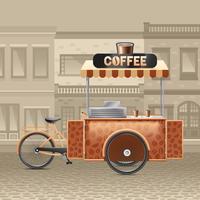 Ilustração de carrinho de café de rua vetor