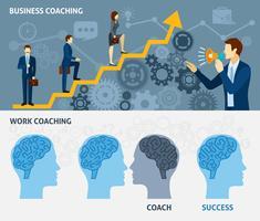Conjunto de bandeiras plana horizontal de coaching de negócios vetor