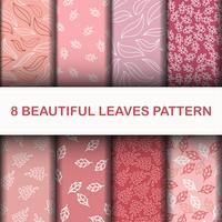 8 padrão de folhas bonitas vetor