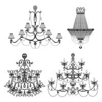 Conjunto de lustre decorativo vetor