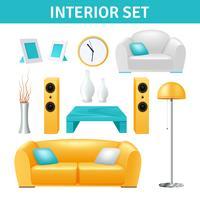 Conjunto de design de interiores vetor